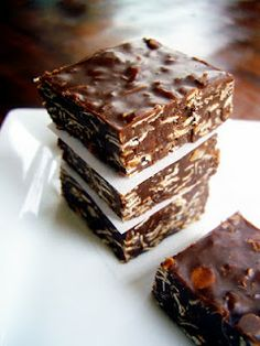 Cooking Pinterest: Healthy No Bake Cookie Bars Recipe.........................almond butter, agave, flax seed