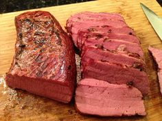 """71988367242 kevinseattle: Food: Corned beefSource: Market House Corned BeefTemperature: 145°F / 62.7°CTime: 48 hoursDevice: NomikuRecipe: 2.75 lb corned beef from Market House. Fat side scored and then meat pre-seared with blowtorch. Vacuum sealed and cooked for 48 hours at 145. Meat lost about 40% of is weight… With the """"40%"""" liquid, I made a gravy using salt, pepper, red wine, balsamic, …"""
