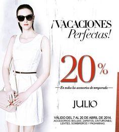 JULIO: Vacaciones 2014 Perfectas 20% Descuento Con JULIO tendrás ¡Vacaciones Perfectas! pues esta ofreciendo hasta 20% de descuento en ropa y accesorios de temporada (Bolsas, Zapatos, Cinturones, Lentes, Sombreros y Pashminas) –>https://www.julio.com/shop/shop/product_category/1 Esta o... -> http://www.cuponofertas.com.mx/oferta/julio-vacaciones-2014-perfectas-20-descuento/