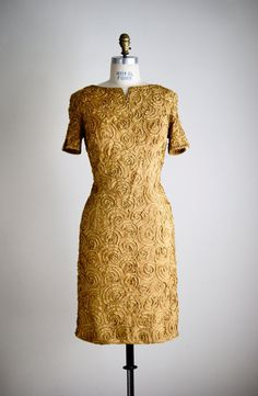 1960s GOLDEN SWIRL ribbon wiggle dress