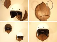 These motorcycle helmet mounts by Brandon Cameron are possibly the single greatest method of storing a lid that have ever been devised by humankind. Or alienkind for that matter. Each mount is made of reclaimed Oak and chromed steel, the design allows them to hold either a 3/4 or a full face helmet in style...