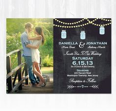 Chalkboard Mason Jar Wedding Invitation DIY PRINTABLE Digital File or Print (extra) Chalkboard Wedding Invitation Photo Wedding Invitation on Etsy, $19.99