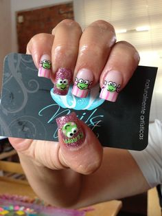 Nails art, acrylic nails, keroppi nails