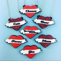 New custom heart necklaces and pins