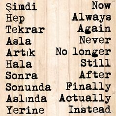 Useful words in Turkish