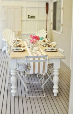 Beach House Blog Coastal Nautical Style Table Dressing |
