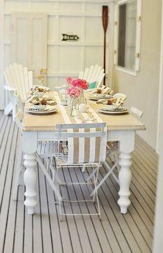 Beach House Blog Coastal Nautical Style Table Dressing  