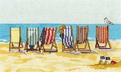 Stripey Deckchairs at Beer in Devon Cross Stitch Kit from DMC