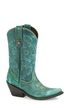 Liberty Black Vintage Turquoise Western Leather Boot