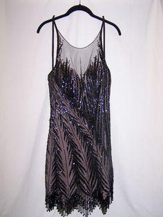 Vintage BOB MACKIE Black Beaded Cocktail Dress