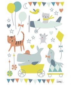 Stickers bébé couleurs pastel
