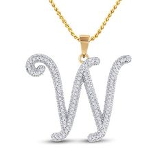 10kt Yellow Gold Round Diamond Initial W Letter Pendant for Women 1/4 Cttw Tiea Jewels Letter Pendants, Initial Pendant, Chain Pendants, Gold Material, Timeless Fashion, Round Diamonds, Diamond Cuts, Initials, White Gold