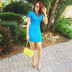 """I'm currently obsessed with blue.  I got this dress from @shopbop last week. It's by the brand """"Likely"""""""