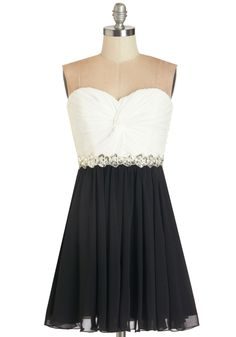 Peace and Harmonics Dress. In tune with the elegant ambiance of the evening, you look like a work of art as you grace the stage in this strapless chiffon dress! #prom #modcloth