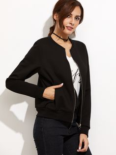 27$  Watch here - http://di4c5.justgood.pw/go.php?t=9267 - Black Letter Print Ribbed Trim Bomber Jacket