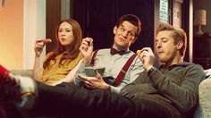 "Matt Smith as the Eleventh Doctor with Karen Gillan as Amy Pond and Arthur Darvill as Rory Williams - ""The Power of Three"""