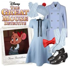 Olivia Flaversham by rochellechristine on Polyvore featuring Valentino, Gucci, Brooks Brothers, Aerosoles, Mixit, Genie by Eugenia Kim, Polaroid, Disney, vintage and Halloween costume #disneybound #cosplay The Great Mouse Detective