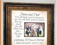 Celebrating the Special Moments in Your LIfe by PhotoFrameOriginals - Anniversary Gift for Parents, For All That You Have Been To Us - Thank You Gift For Parents, Wedding Thank You Gifts, Wedding Gifts For Parents, Golden Anniversary Gifts, Anniversary Gifts For Parents, Personalized Anniversary Gifts, New Grandparent Gifts, Anniversary Party Decorations, Photo Frame Design