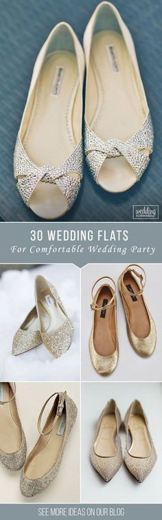 30 Wedding Flats For Comfortable Wedding Party ❤ Flats for brides is a wonderful and the most comfy alternative to the high-heeled shoe.There is some of a cute wedding flats variant.Be special on this day. See more: http://www.weddingforward.com/wedding-flats/ ‎#wedding #shoes