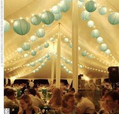 Cute the lanterns are attached to Christmas lights! ADD <3 <3 DIY www.customweddingprintables.com
