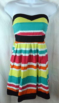 Dots Striped Dress Sleeveless Sz Med Juniors Swimsuit Cover Up Summer Wear | eBay
