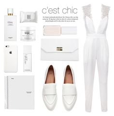 """""""White on white"""" by nadialesa ❤ liked on Polyvore featuring Hermès, Boohoo, NARS Cosmetics, Make, philosophy, white, WhiteOnWhite, jumpsuits and whiteoutfit"""