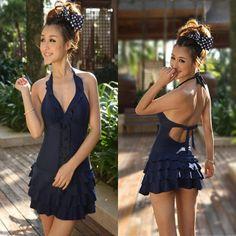 Too cute swim suit Swimsuit Ruffle Swimwear One Piece Halter Backless Dress Plus Size | eBay Buy it now $26.59