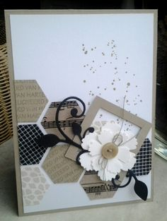 This Card Would Work for Any Occasion Paper Cards, Diy Cards, Sympathy Cards, Greeting Cards, Hexagon Cards, Masculine Cards, Creative Cards, Flower Cards, Homemade Cards