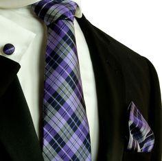 Purple Plaid Silk Necktie Set by Paul Malone (572CH)
