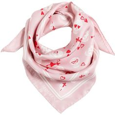 Alexander Mcqueen Women Skulls & Hearts Silk Twill Bandana (92 CHF) ❤ liked on Polyvore featuring accessories, scarves, pink, pink bandana, pink scarves, alexander mcqueen shawl, pink handkerchief and silk twill scarves