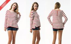 16857 Stripe top w/back zipper