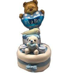 Nappy Cake με μπαλόνι για νεογέννητο για δώρο στους νέους γονείς Blue Balloons, Cake, Kuchen, Torte, Cookies, Cheeseburger Paradise Pie, Tart, Pastries