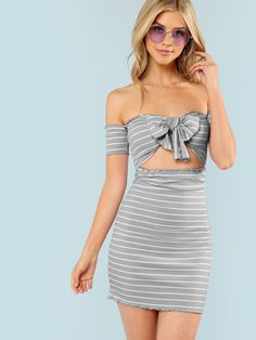 Stagioni Fashion for Women, Dresses for Women. Item: Knot Striped Ribbed Dress for Women Grey Fashion, Fashion Outfits, Stylish Outfits, Fashion Women, Women's Fashion, Nice Dresses, Casual Dresses, Cheap Dresses, Prom Dresses