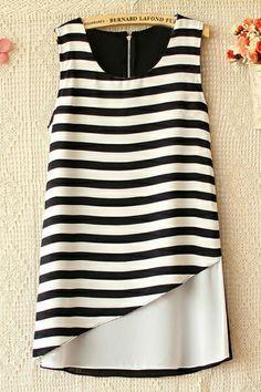 Stripe Sleeveless Chiffon Shirt - OASAP.com