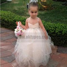 Buy Princess Tulle Beading Spaghetti Straps Bowknot Flower Girl Dresses, Lovely Tutu Dresses in uk. Find the perfect flower girl dresses at . Our flower girl dresses come in a variety of styles & colors including lace, tulle, purple & gold Flower Girls, Cute Flower Girl Dresses, Tulle Flower Girl, Girls Lace Dress, Tulle Flowers, Tulle Dress, Girls Dresses, Dress Lace, Dress Girl