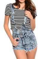 These acid wash overalls are stretchy and super trendy. Have a distressed and high waist three button and zipper closure.