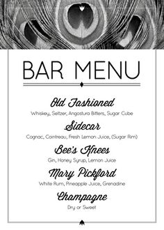 Great Gatsby Party Theme Ideas - Roaring Twenties Party Bar Menu