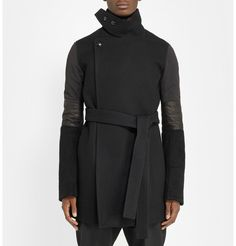 Rick OwensLeather-Trimmed Wool Coat
