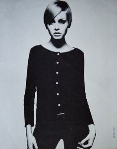 Twiggy black & white 1960s vintage fashion model, 1960s style,