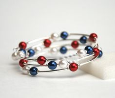 Red White and Blue Memory Wire Bracelet  Navy Blue by lilicharms, $22.00