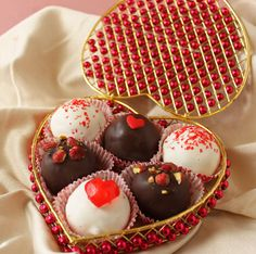 Red velvet cake truffles    Tip: double dip your truffle if using white chocolate as the outer layer because the red cake can show through (if you're a perfectionist like me :P)
