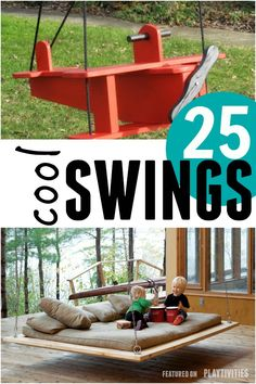 Amazing DIY swings to inspire you create a playful backyard. The list includes wooden and fabric swings, upcycled swings, tire swings and many more ideas! Backyard Playset, Backyard Swings, Tire Swings, Backyard Playground, Backyard For Kids, Backyard Projects, Backyard Landscaping, Diy For Kids, Outdoor Playset