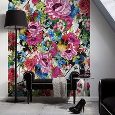 Add a pop of color to any room with a wall mural.