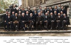 Colorized - Solvay Conference 1927. Einstein, Curie, Bohr and more. (photo credit:  Sanna Dullaway)