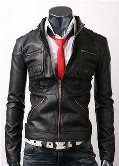 BONANZA: Zip Pocket Black Men s Leather Jacket Buy Now $129.99 Find at Faearch