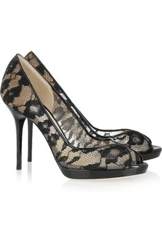 Black lace stilettos.  Beyond sexy!    Jimmy Choo | Belgio lace and patent-leather pumps | NET-A-PORTER.COM