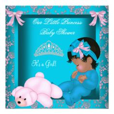 African American Princess Baby Shower Teal Pink Personalized Invites