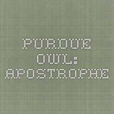 Purdue OWL: Apostrophe help