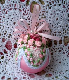Victorian Shabby Pink Christmas Ornament, Pink Roses, Venice Lace, Cabbage Roses | eBay