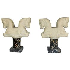 Vintage 'Louvre' Paris Replica Statues Bookends of Horses on Marble Pedestal | From a unique collection of antique and modern sculptures at https://www.1stdibs.com/furniture/decorative-objects/sculptures/